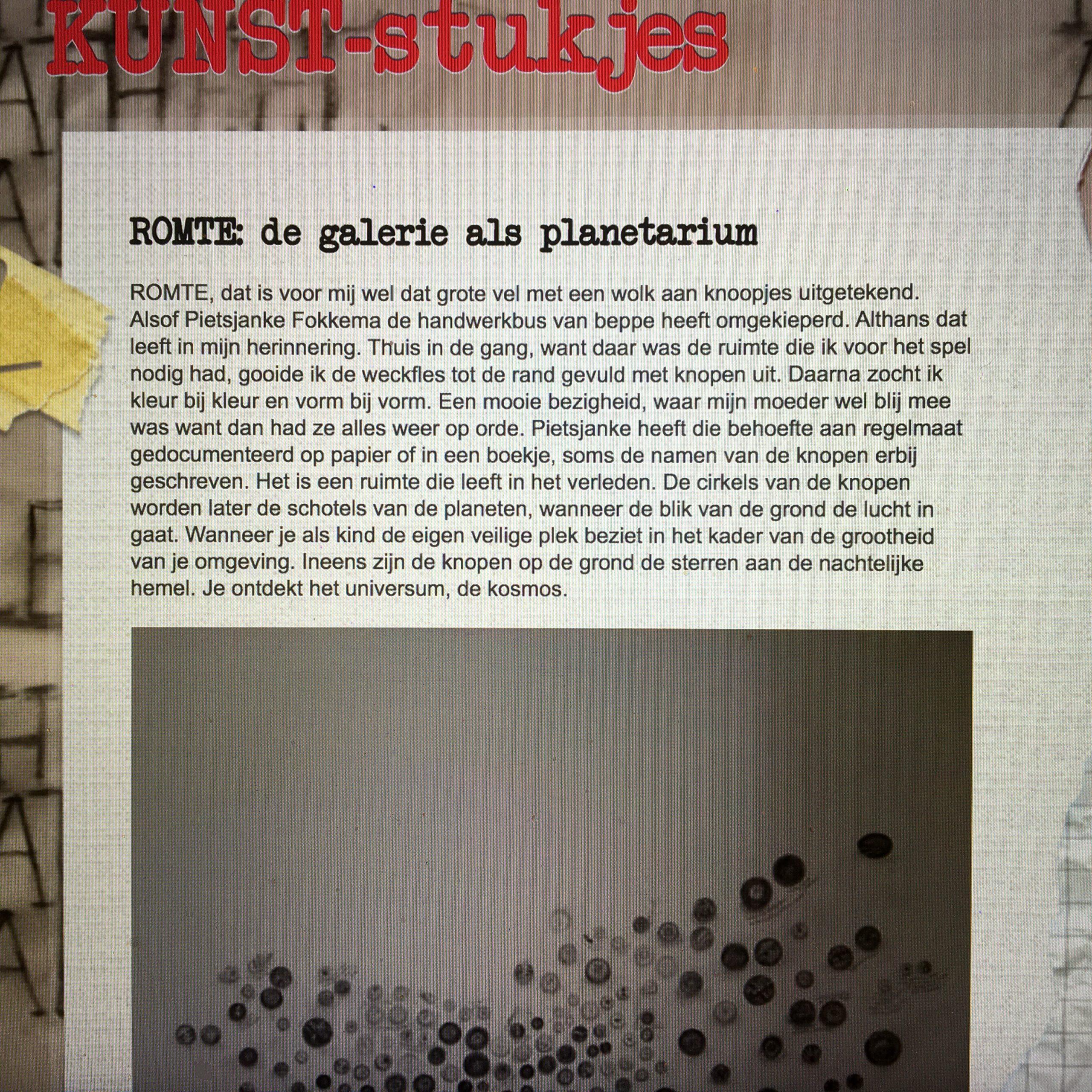 ROMTE: de galerie als planetarium